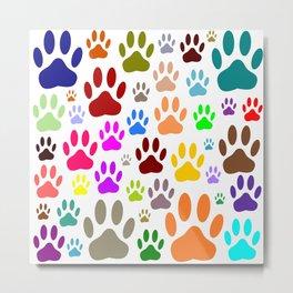 Dog Paw Prints All Over Metal Print