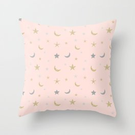 Gold and silver moon and star pattern on pink background Throw Pillow