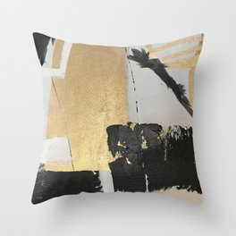 Gold leaf black abstract Throw Pillow
