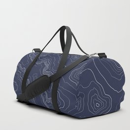Navy topography map Duffle Bag