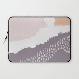 NORA :: Modern Abstract Painting Brush Strokes Color Palette Light Pink Mustard Gold Blue Lavender Laptop Sleeve