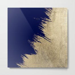 Navy blue abstract faux gold brushstrokes Metal Print