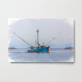 Blue Shrimp Boat on Grey Day Metal Print