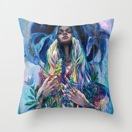 The Rustle of Narwhal's Wings Throw Pillow