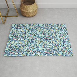 Blue White Yellow Tiling Colored Squares Rug