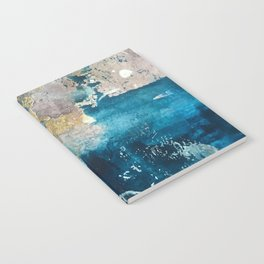 Timeless: A gorgeous, abstract mixed media piece in blue, pink, and gold by Alyssa Hamilton Art Notebook