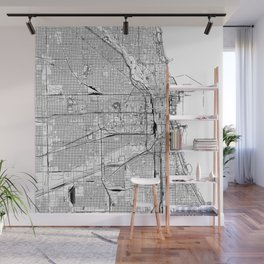 Chicago White Map Wall Mural