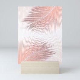 Palm leaf synchronicity - rose gold Mini Art Print