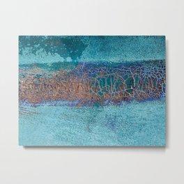 Rust and Cracks Turquoise Metal Print