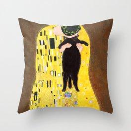 Kiss (black) Throw Pillow