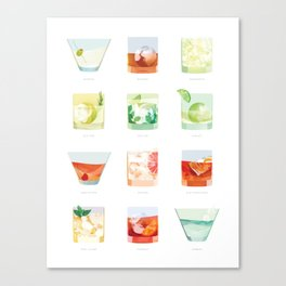 Cocktail Hour: Classic Cocktails Poster Canvas Print