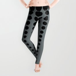 Reduced Black Polka Dots Pattern on PPG's Night Watch Pewter Green Color Background Leggings