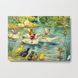 """Duck Racing in the Pond"" by Margaret Tarrant Metal Print"