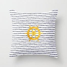 Marine pattern - Navy blue white striped with golden wheel Throw Pillow