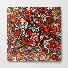 Orange Red Black Zendoodle Metal Print