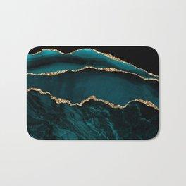 Teal Blue Emerald Marble Landscapes Bath Mat