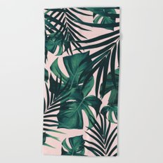 Tropical Jungle Leaves Pattern #5 #tropical #decor #art #society6 Beach Towel