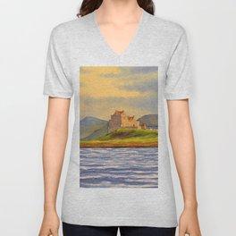 Duart Castle Isle Of Mull Scotland Unisex V-Neck