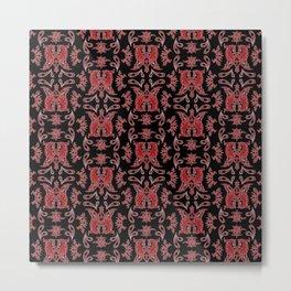 Red & Black Slavic Patterns Metal Print