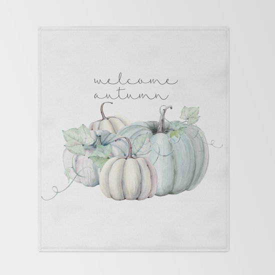 welcome autumn blue pumpkin by sylviacookphotography