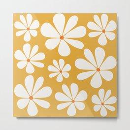 Floral Daisy Pattern - Golden Yellow Metal Print