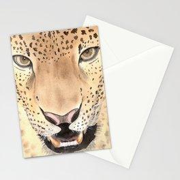 Leopard Portrait, Watercolour art Stationery Cards