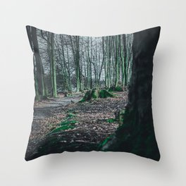 Moss Covered Tree Stump Hiking Path Forest dark Throw Pillow