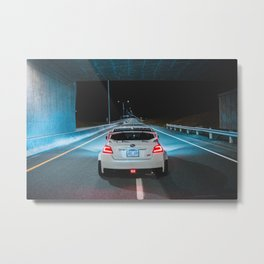 White wrx sti parked on an empty highway Metal Print