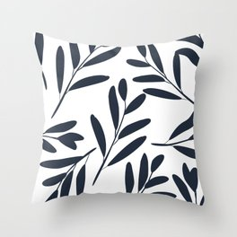 Prints of Leaves, Navy Blue and White, Colour Prints Throw Pillow