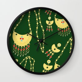 Traditional jewelery green Wall Clock