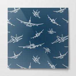 Airplanes on Navy Metal Print
