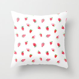Baby strawberries || watercolor Throw Pillow