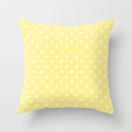 Buttermilk Yellow with White Polka Dots Throw Pillow