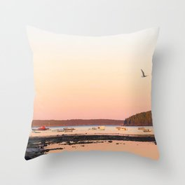 Pink Sunset Over the Harbor Throw Pillow
