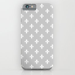 Fleur-de-Lis (White & Gray Pattern) iPhone Case