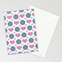 Pink hearts and green flowers pattern  Stationery Cards