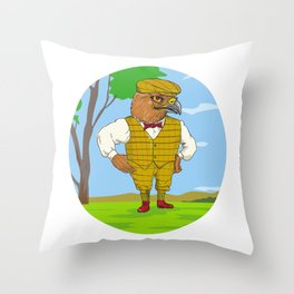 Hawk Outdoorsman Oval Drawing Throw Pillow