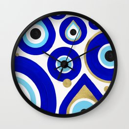 Evil Eye Charms on White Wall Clock