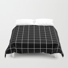 Grid Pattern Line Stripe Black and White Minimalist Geometric Stripes Lines Duvet Cover