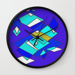 Blue white and turquoise Wall Clock