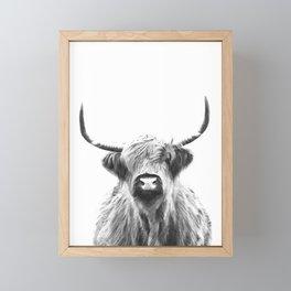 Black and White Highland Cow Portrait Framed Mini Art Print
