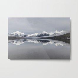 Calm Mountain Lake, Montana Winter Metal Print