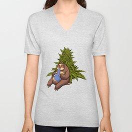 cannabis sloth grass marijuana THC hemp pot 420 weed Unisex V-Neck