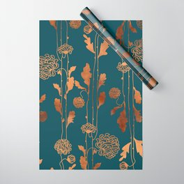 Art Deco Copper Flowers  Wrapping Paper