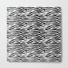 Thick Black and White Tiger Stripes Animal Print Metal Print