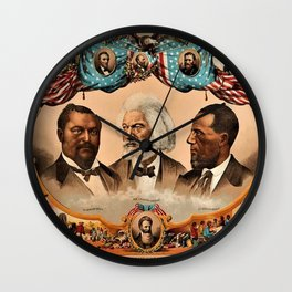 1881 African American 'Heroes of the Colored Race' Library of Congress Print Poster Wall Clock