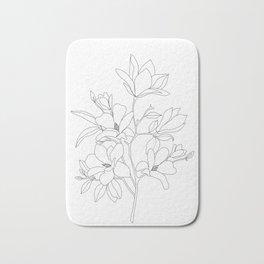 Minimal Line Art Magnolia Flowers Bath Mat