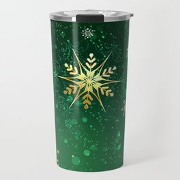 Gold Snowflakes on a Green Background Travel Mug