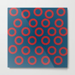 Fishman Donuts Red and Blue Metal Print