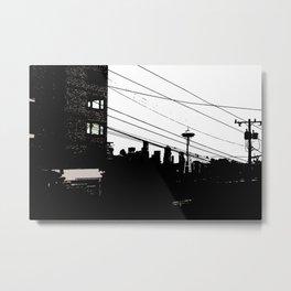 Seattle & Powerlines Metal Print